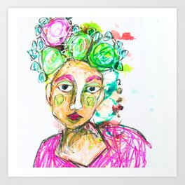 She tried to understand him Art Print