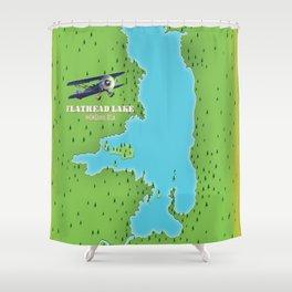 Flathead Lake Montana USA map Shower Curtain