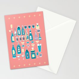 Cocktails And Drinks In Aquas and Pinks Stationery Cards
