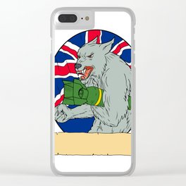 Grey Wolf Holding Bomb Union Jack Drawing Clear iPhone Case