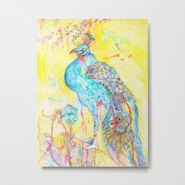 Where Peacocks Kiss the Raindrops Metal Print