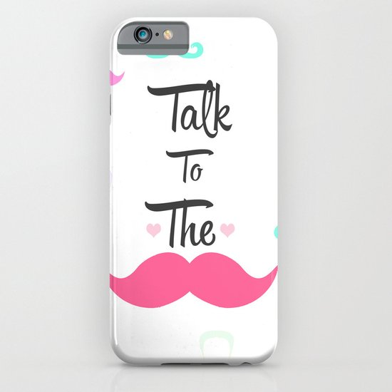 Funny Girly Talk To The Mustache Bright Pink Heart iPhone & iPod Case