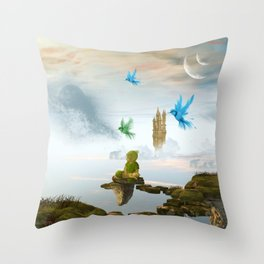 Elven with cute sleeping baby Throw Pillow