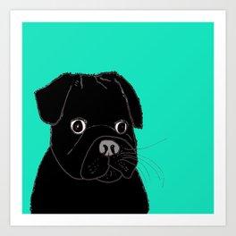 The Contemplative Pug. Art Print