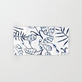 Tropical Plant Boho Chinoiserie Blue and White Hand & Bath Towel