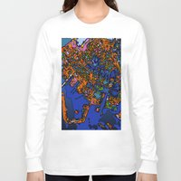 maps Long Sleeve T-shirts featuring Funky Maps, NEW YORK by MehrFarbeimLeben