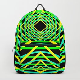 Diamonds in the Rounds Blacklight Neons Yellow Greens Backpack
