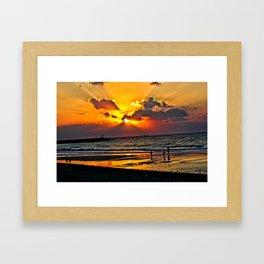 Sunset Beach, Dubai UAE Framed Art Print