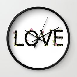 LOVE in bloom Wall Clock