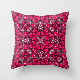 Ruby Stained Glass 1 Throw Pillow