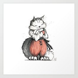 Monk Norwegian Forest Cat Art Print