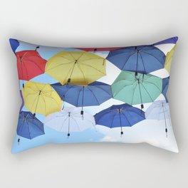 many colorful hanged umbrella against blue sky Rectangular Pillow
