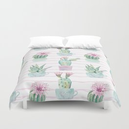 Cute Potted Cacti Stripe Pattern Duvet Cover