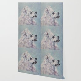 American Eskimo Dog portrait Fine Art Dog Painting by L.A.Shepard Wallpaper