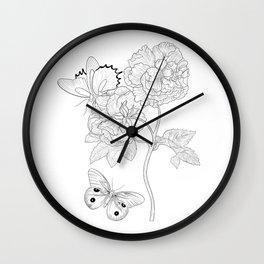 Botanical Illustration Roses Butterflies fine liens Scientific Modern England Poster blackart Wall Clock
