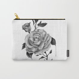 Black and White Rose Flower Carry-All Pouch