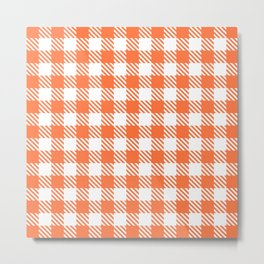 Plaid Pattern 512 Orange Metal Print