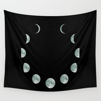 moon phases Wall Tapestries featuring Moon phases by ShaMiLa