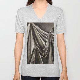 Draped cloth, charcoal drawing Unisex V-Neck
