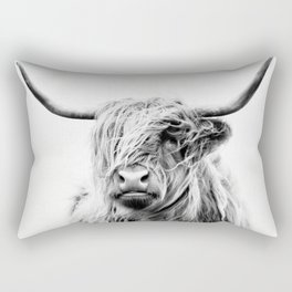 portrait of a highland cow - (vertical) Rectangular Pillow