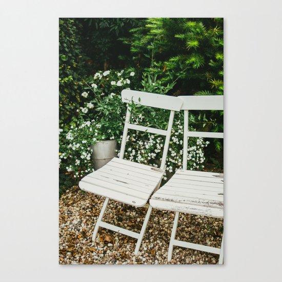 English Garden Chairs Canvas Print
