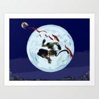 Cat in the moonlight Art Print
