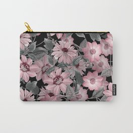 Nostalgic Floral Pattern On Black Carry-All Pouch