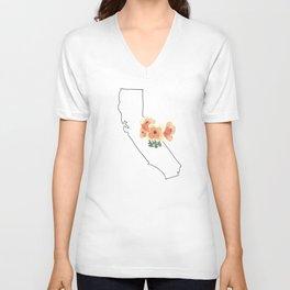 california // watercolor california poppy state flower map Unisex V-Neck