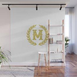 Mustard Yellow Monogram: Letter M Wall Mural