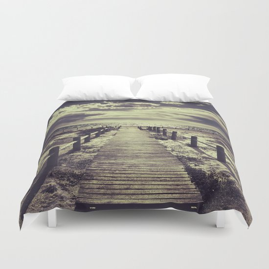 To the beach.... Duvet Cover