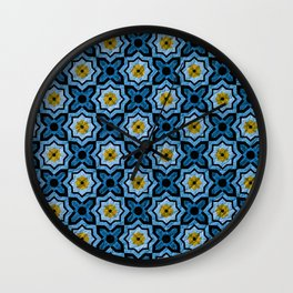 V6 Blue Traditional Moroccan Natural Leather - A4 Wall Clock