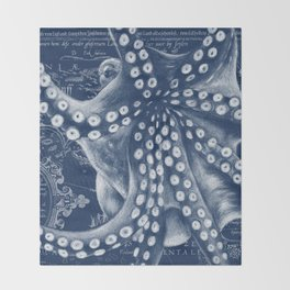 Octopus Vintage Map Blue Nautical Art Throw Blanket