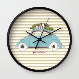 Vintage car with tree Wall Clock