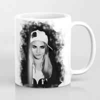 cara delevingne Mugs featuring Cara Delevingne by BeckiBoos