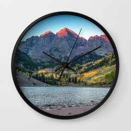 Maroon Bells Morning - Sunrise and Autumn Color near Aspen, Colorado Wall Clock