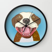pit bull Wall Clocks featuring Pit Bull Pride by Kat Lyon