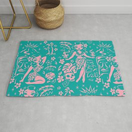 Tiki Temptress in Pink and Turquoise Rug