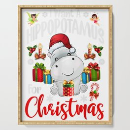 I Want A Hippopotamus For Christmas Xmas Hippo For Kid Girls Serving Tray