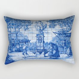Portuguese Azulejo Tile Traditional Old World Life. Rectangular Pillow