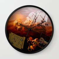pirates Wall Clocks featuring Pirates  by valzart