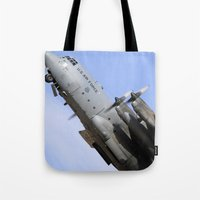 aviation Tote Bags featuring USAF C-130 Aviation take off by Aviator