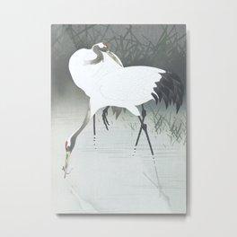 Two cranes fishing in the swamp - Vintage Japanese Woodblock Print Art Metal Print