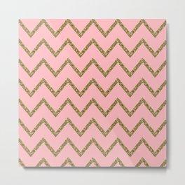 Gold & Pink Glitter Chevron Metal Print