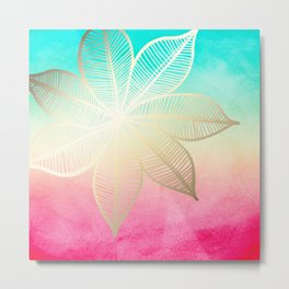 Gold Flower on Turquoise & Pink Watercolor Metal Print