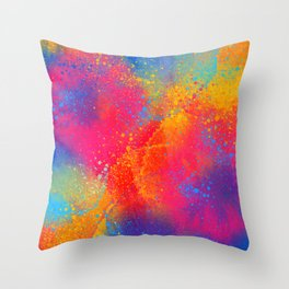 Bohemian 1960's Psychedelic Abstract Splatter Design Throw Pillow