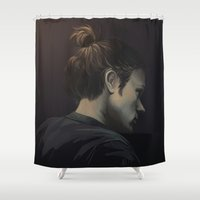 sam winchester Shower Curtains featuring Sam by Armellin