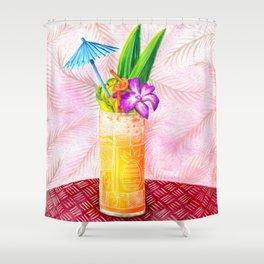 Tiki Drinks no.1 - gouache painting Shower Curtain