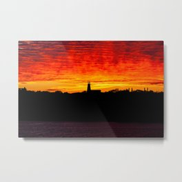 Lighthouse at Sunset on the Bay of Fundy. Canada. Metal Print