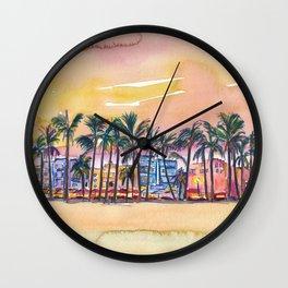 Miami Florida Ocean Drive Lights with Vanilla Sky Wall Clock