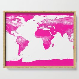 World Map Hot Pink Serving Tray